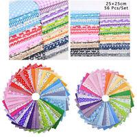 56pcs DIY Squares Pre-Cut Charm Cotton Quilt Fabric Fat Quarters Bundles 25x25cm