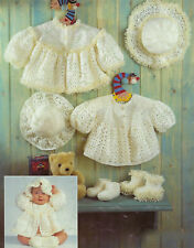PREMATURE BABY DOLL CROCHET JACKET HAT BOOTEES PATTERN 12/22 INCH (1453)