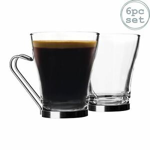 6x Oslo Tea Coffee Latte Glasses Cappuccino Cups Stainless Steel Handle 220ml
