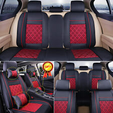 5-Seats Car Seat Cover PU Leather Ice Silk Needlework Front & Rear Universal