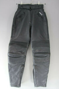 ASHMAN BLACK COWHIDE LEATHER BIKER TROUSERS SIZE 12 WAIST 28 IN/INSIDE LEG 30 IN