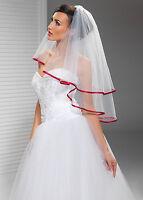 Wedding Veil Elbow Length Red Satin Edge W-54