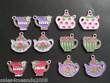12 Enamel Spring Teacup Tea Party Charms Scrapbooking Jewelry DIY Earrings TC12