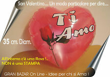 PALLONCINO CUORE con ROSA Sposi, S. Valentino, Mamma, GONFIABILE 35 cm. diam.