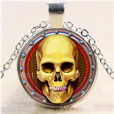 STEAMPUNK GOLDEN SKULL Cabochon Glass Tibet Silver Chain Pendant Necklace#S8W