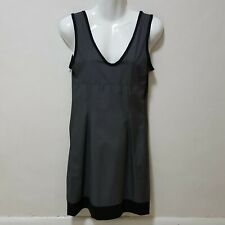 M0851 Dress Gray Charcoal Empire Lined Impermeable V back Canada Lagenlook S