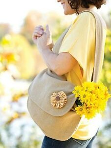 SOMERVILLE BURLAP MESSENGER TOTE BAG WITH FABRIC FLOWER BUTTON CENTER 13X11