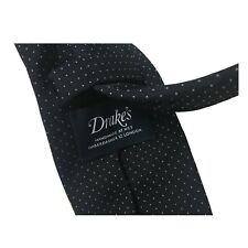 Drake's Cravatta Uomo Blu Foderata cm 8 100 seta Made in England