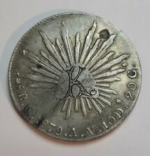 """🇲🇽 MEXICO 1862-CA 8 REALES SCARCE CHIHUAHUA MINT SILVER CROWN - LOVE TOKEN """"K"""""""