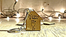 Home Is Where The Heart Is Laser Cut wooden KeyRing