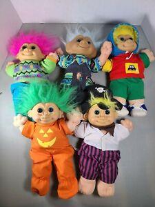 Lot of 5 Vintage Haloween Plush Russ Troll Dolls Pink Hair Costume Large 12 inch