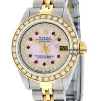 Rolex Watch Lady Datejust SS/18K Yellow Gold Pink MOP Diamond Dial Diamond Bezel