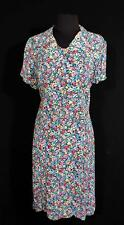 RARE PLUS SIZE 16+ FRENCH VINTAGE 1940'S WWII ERA FLORAL SILKY RAYON DRESS