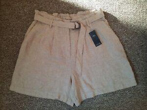 M&S beige linen belted paperbag waist shorts bnwt