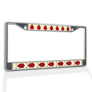 Metal License Plate Frame Vinyl Insert Set of Red Ladybugs Insect Lady Bug