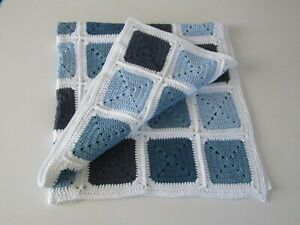 Crochet Baby blanket handmade with recycled cotton blue & white eco friendly