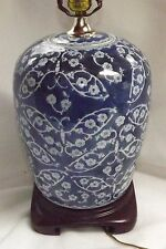 Antique Chinese Blue & White Cherry Blossom in Butterflies Ginger Jar Lamp Works