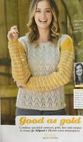 KNITTING PATTERN Ladies Zigzag Lace Jumper Contrast Striped Lace Sleeves Sweater