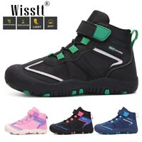 Wisstt Kids Ankle Snow Work Boots Boys Girls Outdoor Lace-up Hiking Walking Shoe
