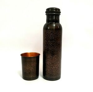Black Oxidized Copper Bottle With A Beautiful Etching Floral Design With 1 Glass
