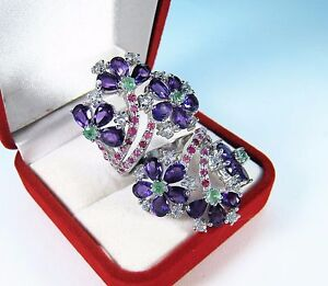 AMETHYST, EMERALD, RUBY, WHITE TOPAZ RING 9.98 CTW #8 WHITE GOLD over 925 SILVER