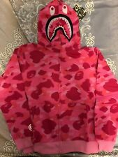 Bape A bathing ape camo shark hoodie Pink Medium