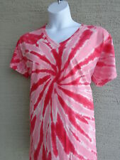 Women's Port and Company  Cotton S/S V Neck Tie Dyed Tee Shirt 4X Red Multi