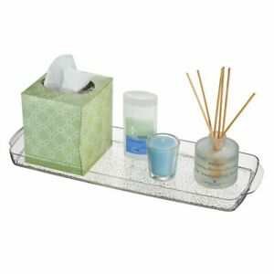 mDesign Long Plastic Bathroom Toilet Tank Storage Vanity Accessory Tray - Clear