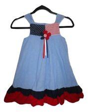 Bonnie Jean 4th of July Patriotic Girls Denim Dress Size 6X