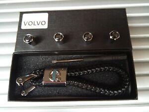 VOLVO Luxury Black leather keyring key chain Key ring fob Gift box Set