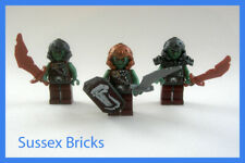 Lego Castle Fantasy Era - 3x Orc Troll Warriors Shield Weapons - VGC