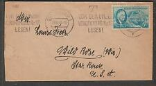 WWII 1946 cover Hamburg franked w US postage forced labor person to Wild Rose WI