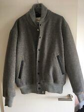 GB Sport Grey Wool Bomber Jacket With Leather Trim