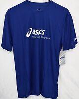 "Men's ASICS ""Sound Mind,Sound Body"" Blue Polyester Athletic T Shirt -NEW -Small"
