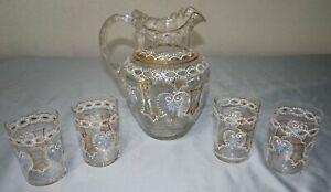 Hand Blown Victorian Art Glass Enameled Ruffled Lemonade Pitcher & 4 Tumbler Set