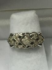 14k White Gold Vintage Style Band With Diamonds