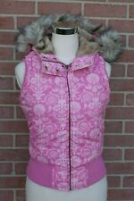 Aeropostale Quilted Vest M Womens Hooded Puffer Vest Pink Faux Fur Size Small