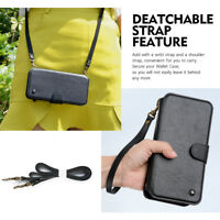 For iPhone 6 7 X XS Max Wallet Case, Leather Multifunction Cover Case Wrist rope