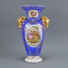 Vase en porcelaine de Vieux Bruxelles 19ème 37 cm