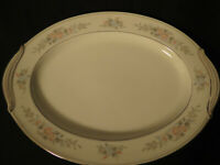 "Vintage NORITAKE ROMANCE 6022 13 3/4"" China Oval Serving Platter White / Floral"