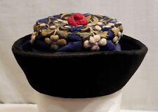 Vintage Elegant Art Deco? Black Velvet Hat / Raised Floral Design