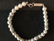 "Napier Faux Pearl & Crystal Rondelle Spacer Beads 7"" Bracelet"