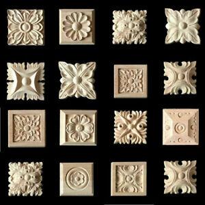 10pcs Unpainted Wooden Mouldings Furniture Appliques Onlays Craft Corner Decor