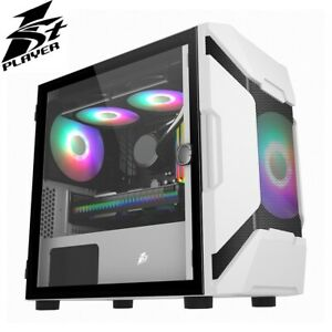 1st Player DK D3-A White Micro ATX Case with RGB Fans Tempered Glass Side USB 3