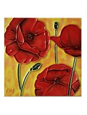"Poppy Flowers Art Tile 4""x4"" Three Poppies Decorative Ceramic New SD-006"