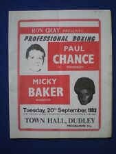 Dudley Town Hall Boxing Programme - Paul Chance v Micky Baker  20th Sept. 1983