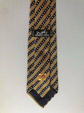 Authentic HERMES PARIS Silk Tie Necktie Yellow Navy Striped Made In France