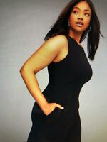 Women's NEW size 28 Lane Bryant Black Sleeveless Wide Leg Jumpsuit