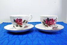 LOT of Two Queen Anne Footed Tea Cup and Saucer SETS Red Roses  EXC!