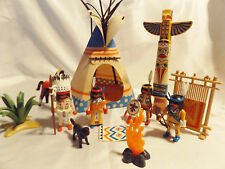 PLAYMOBIL WESTERN HISTORY INDIAN CAMP W/ 5 NATIVE AMERICANS, TEEPEE,  HORSE, DOG